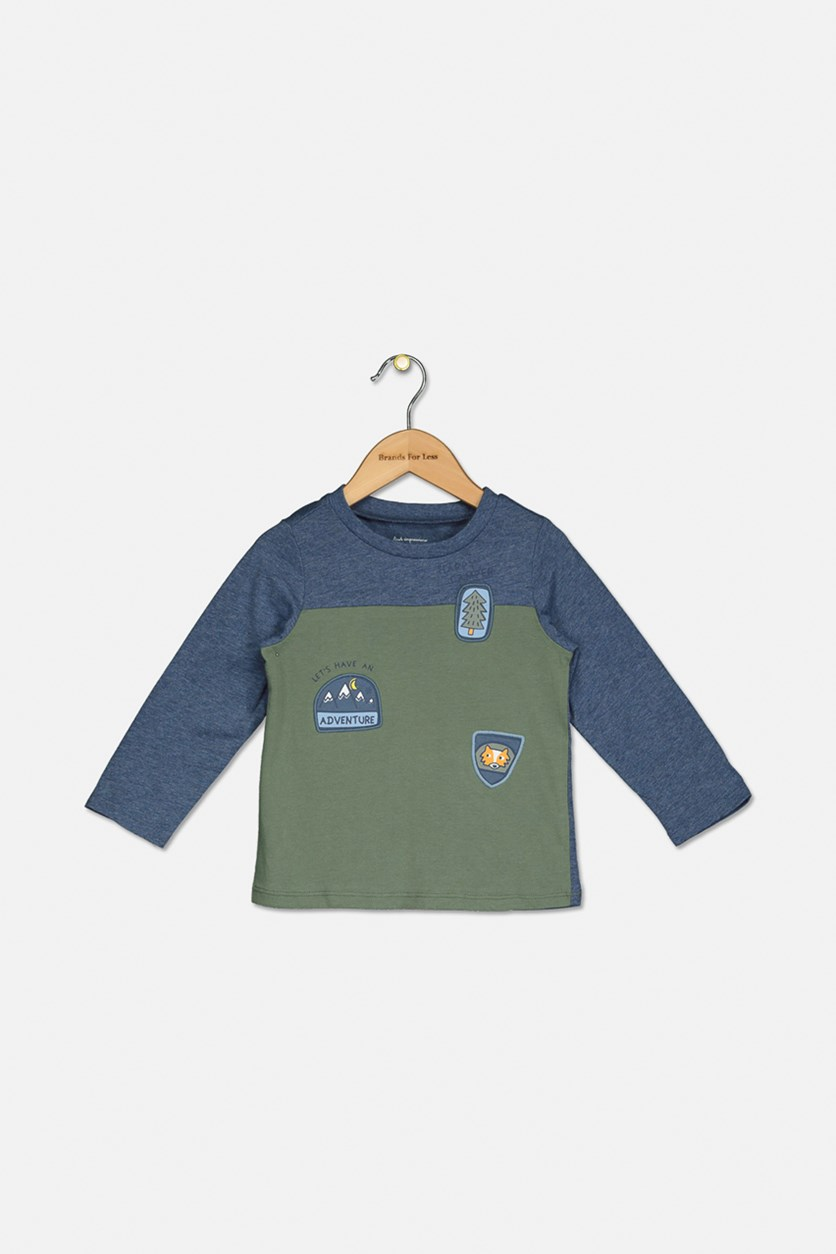 Baby Boys Colorblocked Patches T-Shirt, Pine Brush