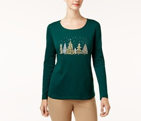 Karen Scott Cotton Embellished Tree T-Shirt, Spruce Night