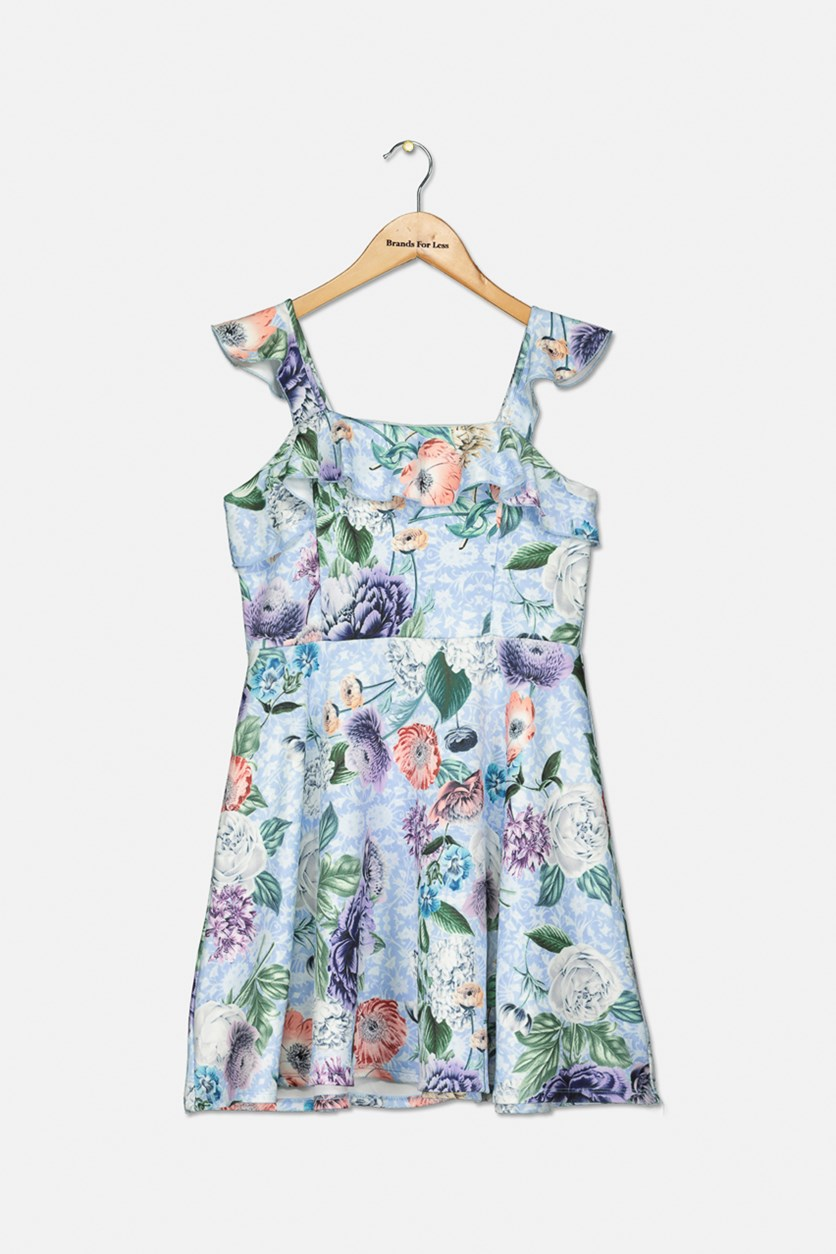 Girls Floral Flutter-Sleeve Dress, Blue Combo