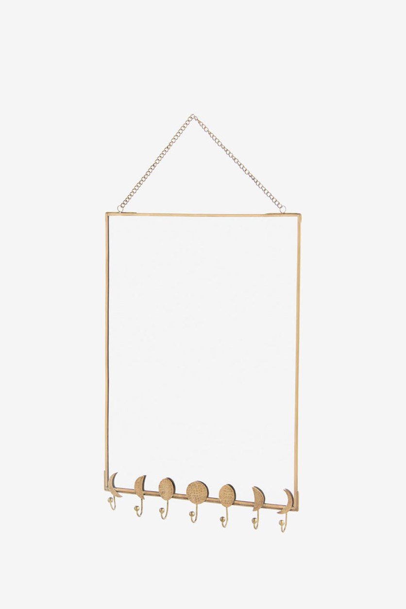 Moons Wall Mirror Brass Glass, Gold