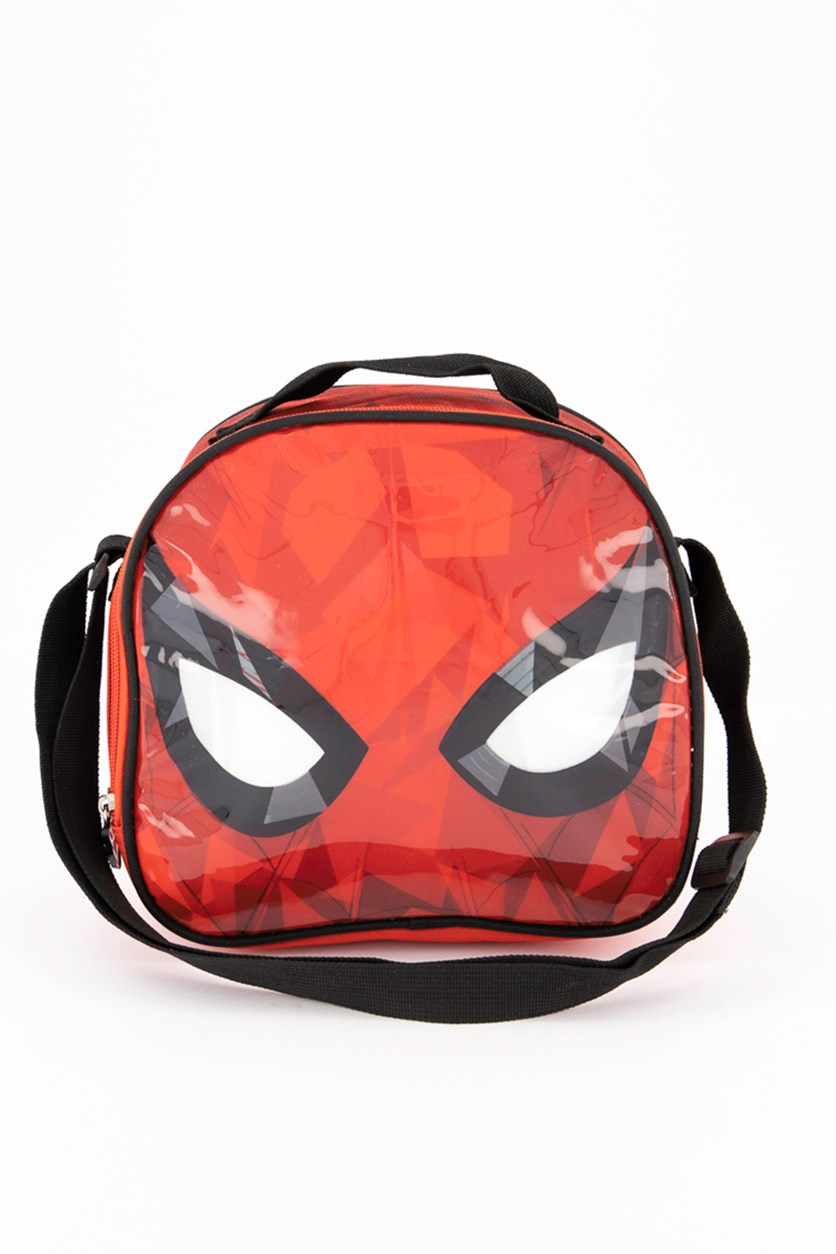 Spiderman Crinkle Face Lunch Bag, Red/Black