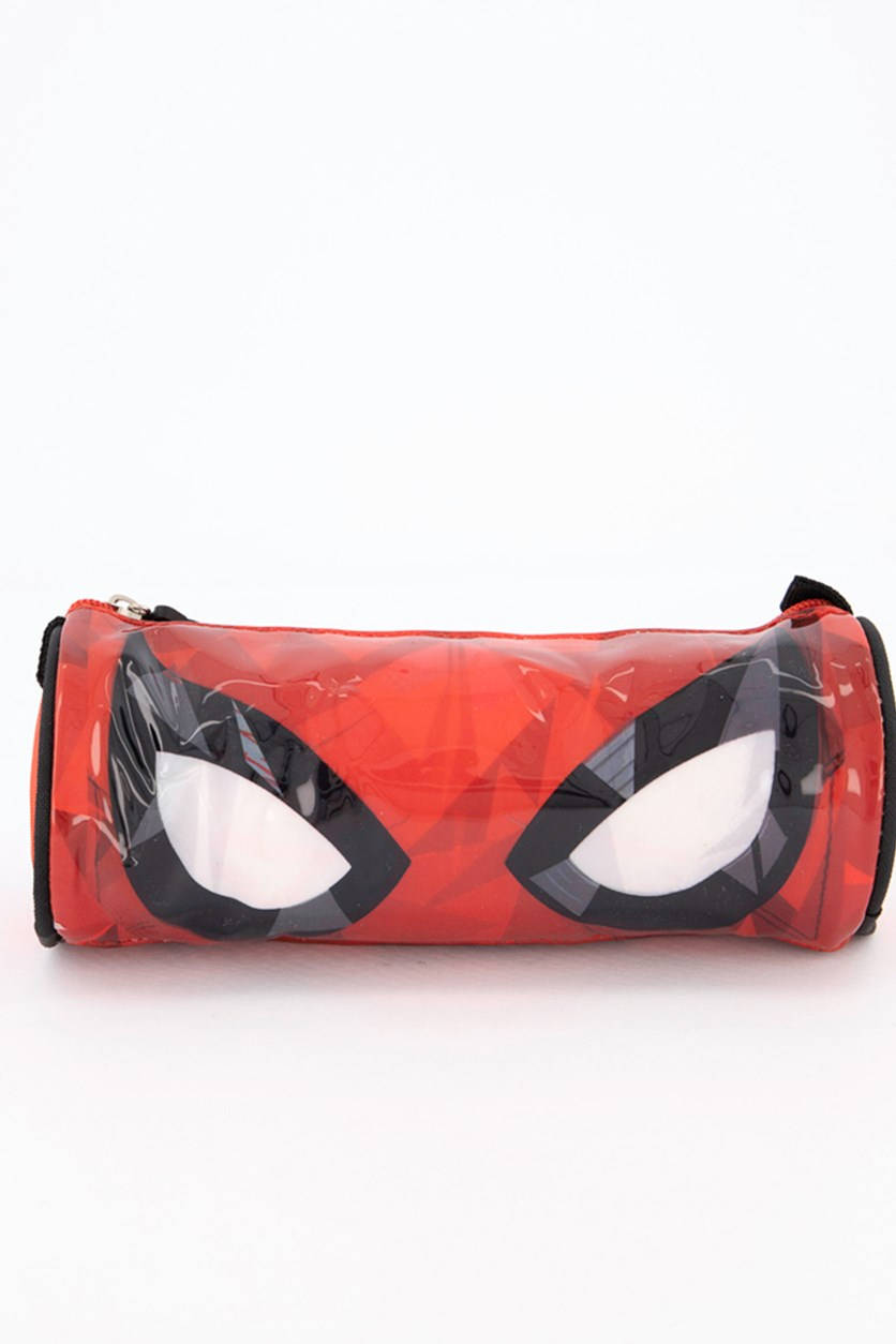 Spider Man Crinkle Face Round Pencase, Red/Black/White