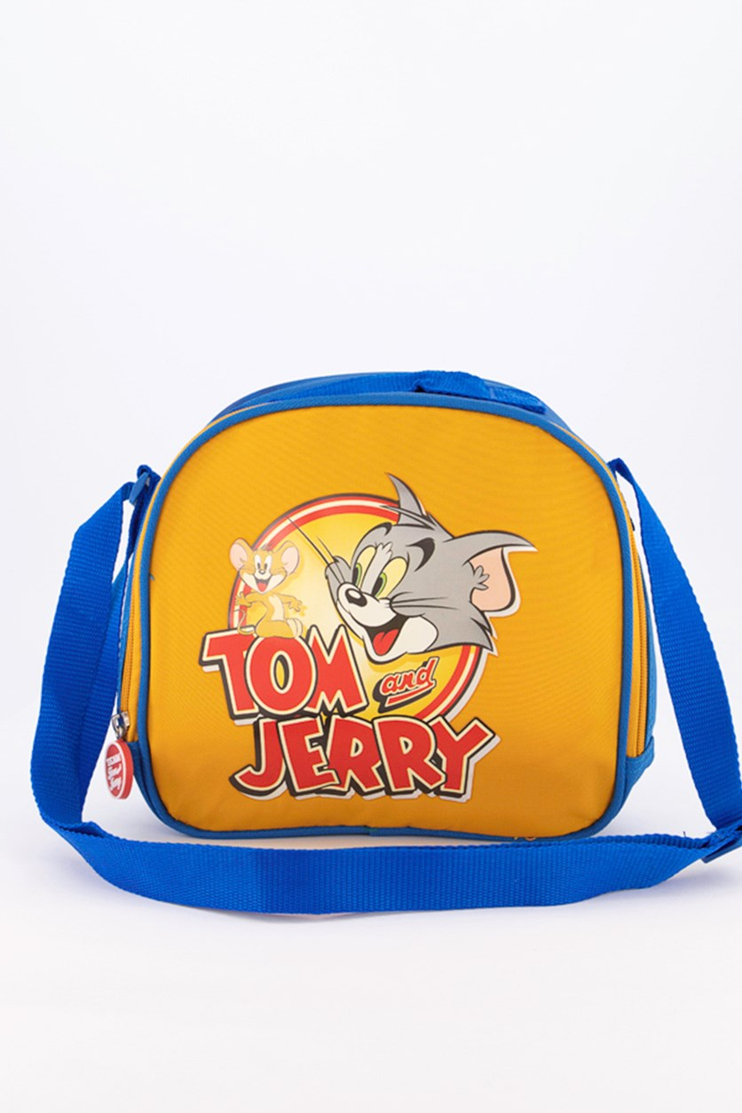 Tom & Jerry Logo Lunch Bag, Blue/Mustard
