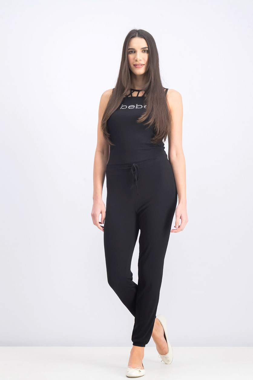 Women's Embellished Knit Jumpsuit, Black