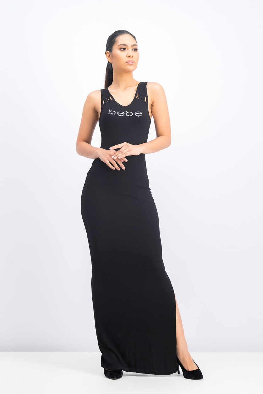 Women's Lacing Detail Maxi Dress, Black