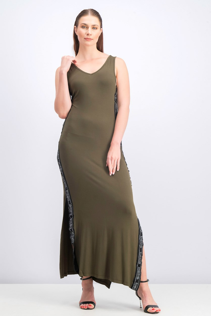 Women's Side Print Logo with Rhinestone Maxi Dress, Olive/Black