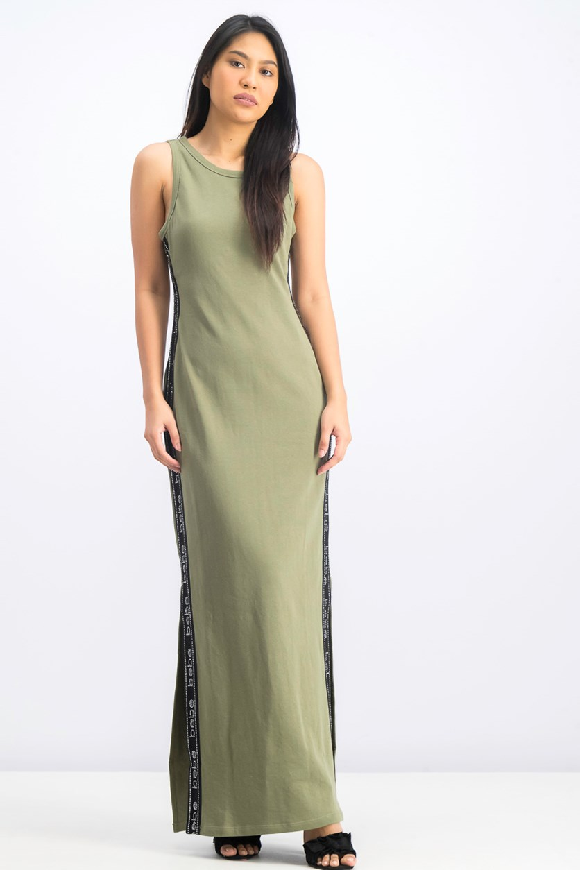 Women's Logo Tape Long Dress, Green