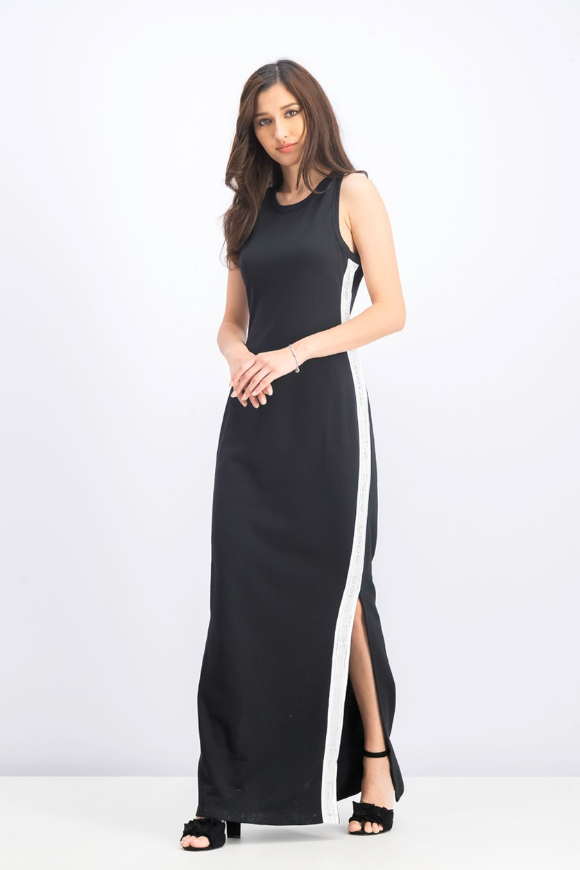 Women's Side Logo Print Maxi Dress, Jet Black