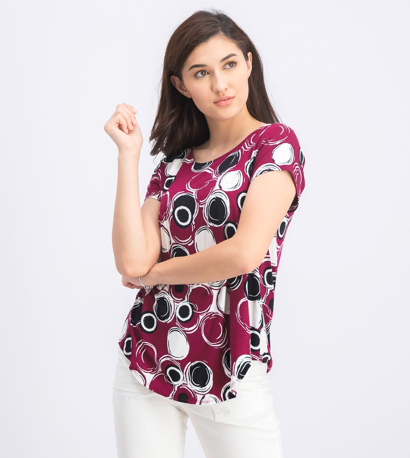 Women's Printed Short Sleeve Top, Burgundy