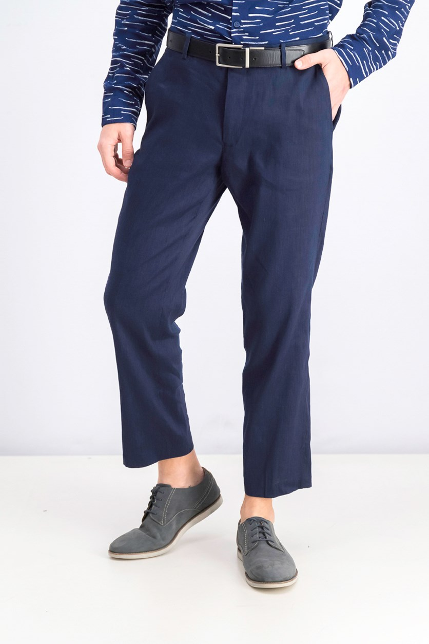 Men's Shiny Slim-Fit Stretch Pants, Basic Navy