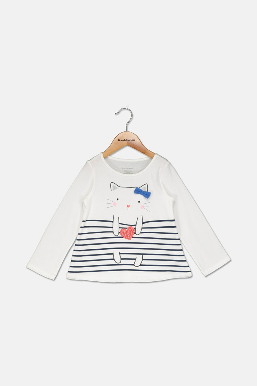 Baby Girls Long-Sleeve Cat T-Shirt, White Combo