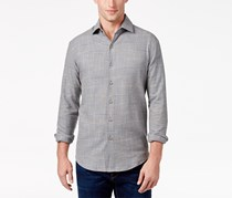 Tasso Elba Men's Brushed Cotton Shirt, Gray