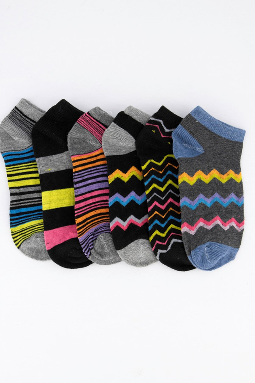 Kids Girl's 6 Pairs Low Cut Socks, Grey/Black/Blue