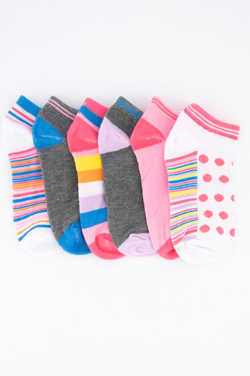Kids Girl's 6 Pairs Low Cut Socks, Pink/Grey/White/Blue
