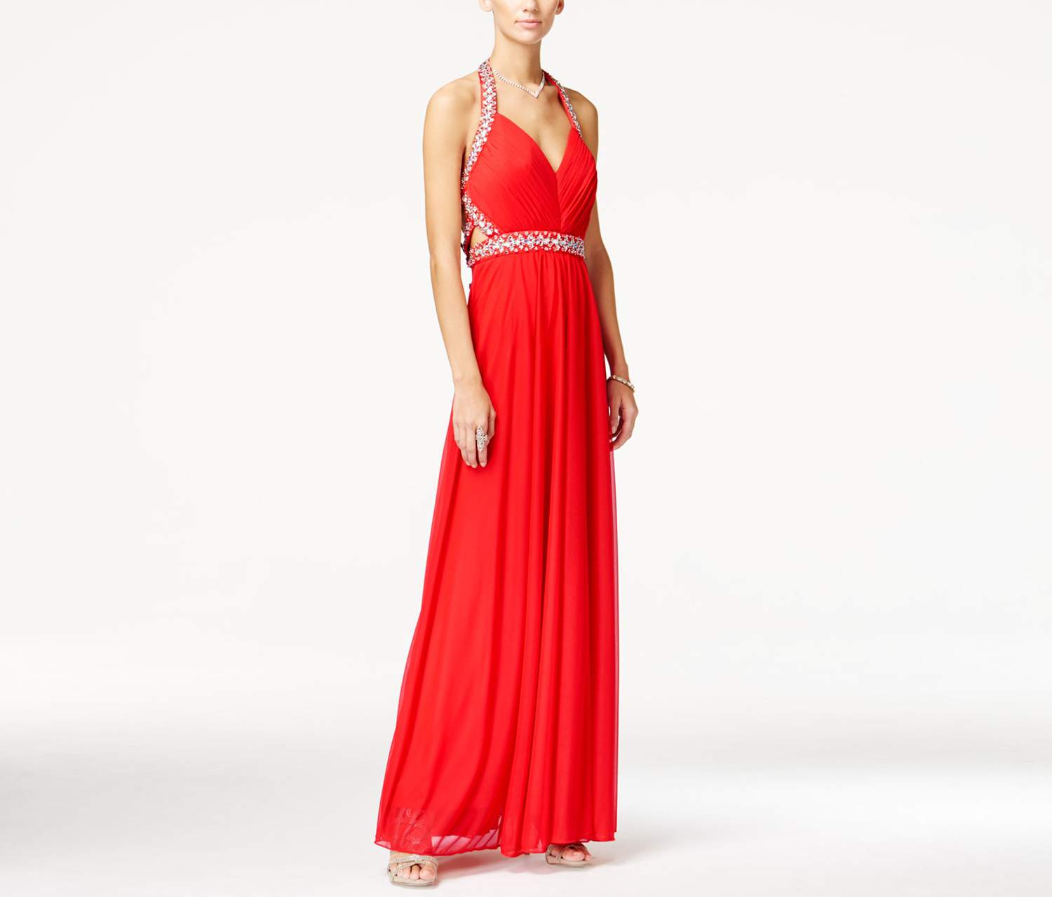 Sequin Hearts Juniors' Jeweled Ruched Halter Gown, Red