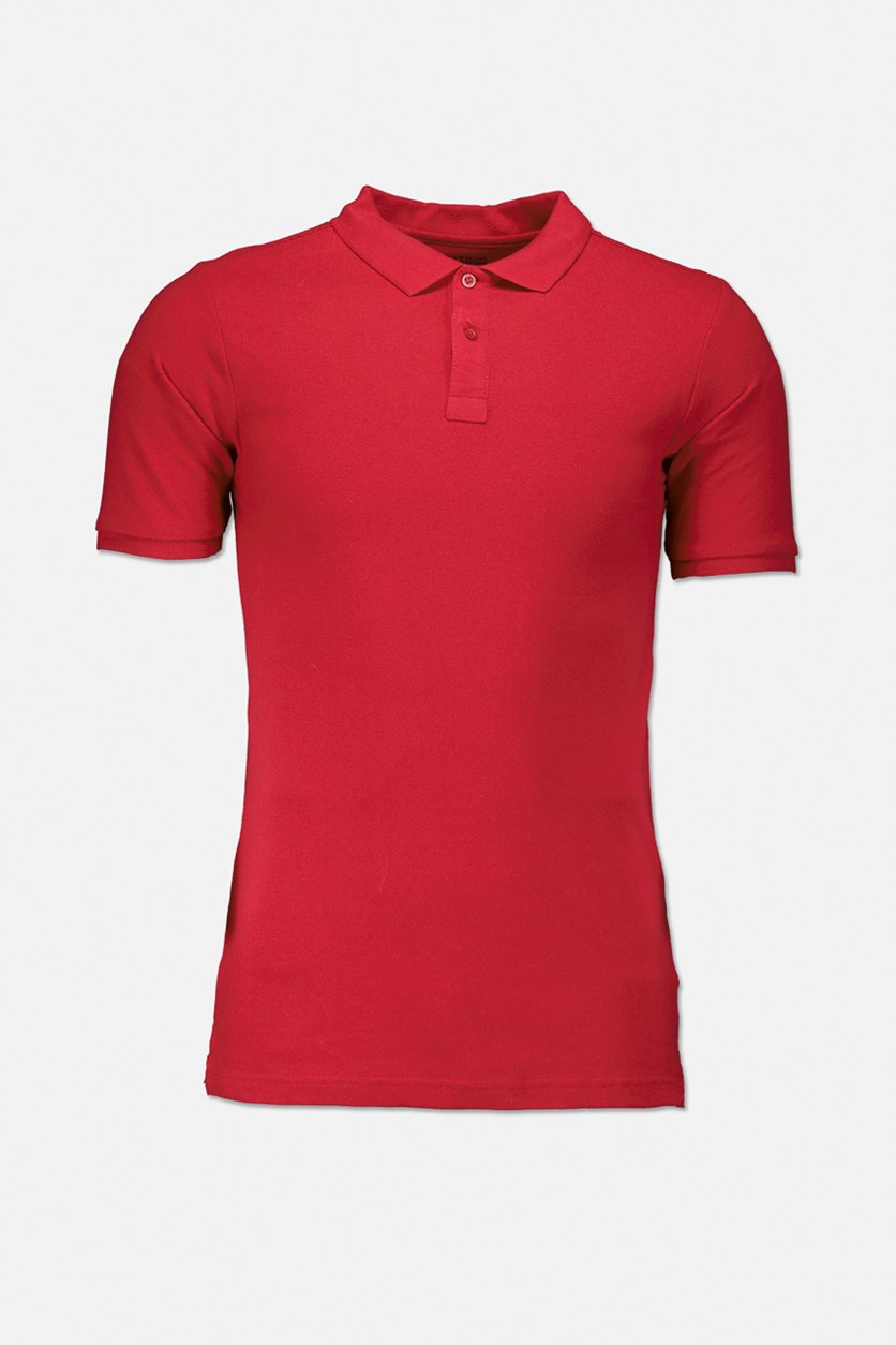Boys Pique Polo Shirt, Red