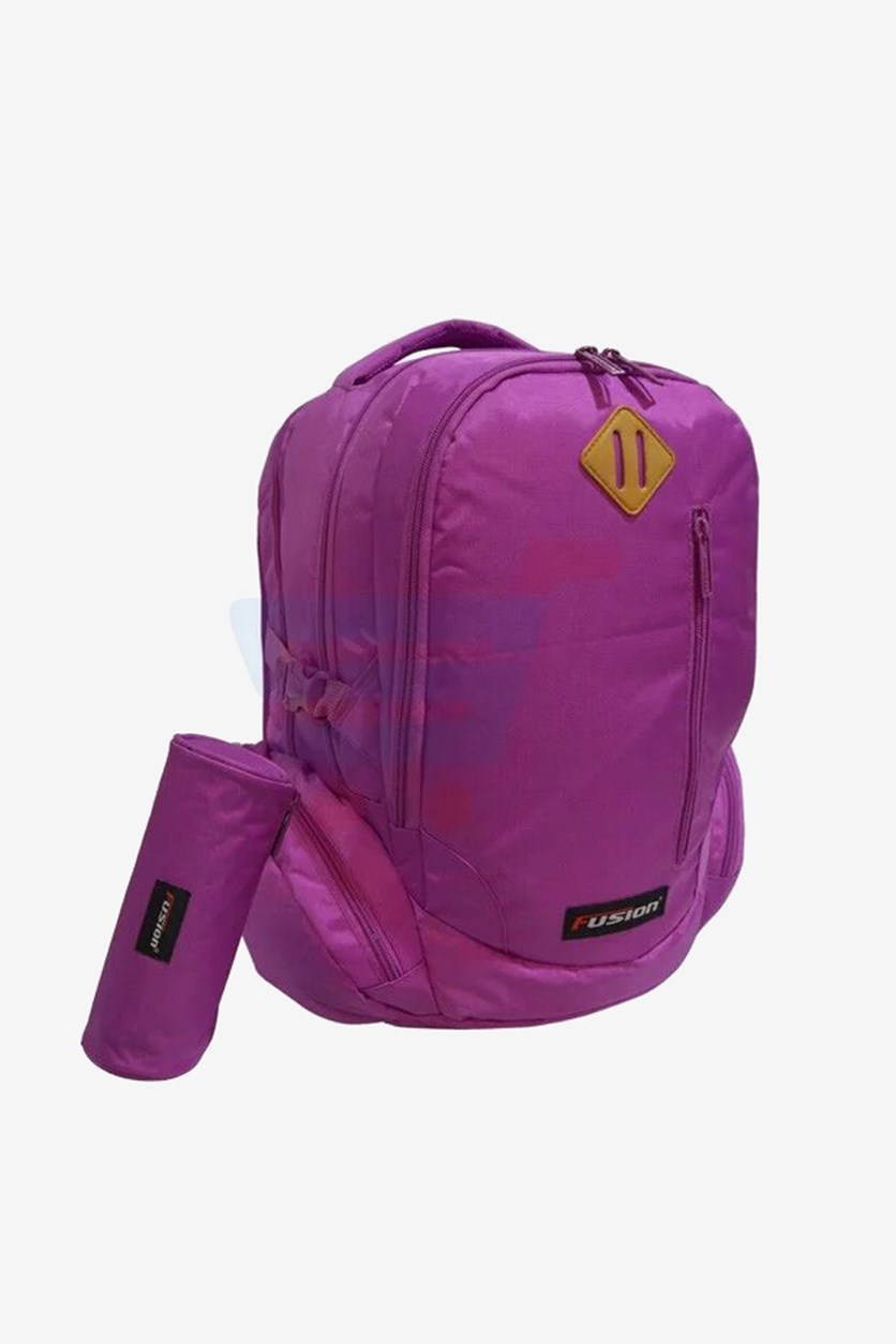 Girl's Brand Logo Backpack with Pencil Case, Fuchsia