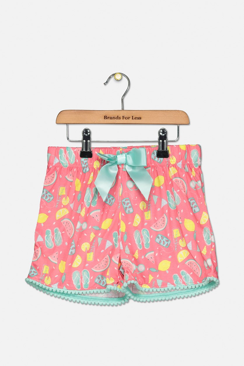 Girl's Printed Pajama Shorts, Pink