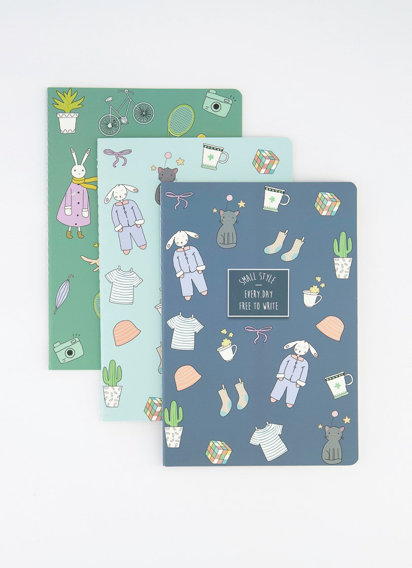 3-Pack Happy Hour A5 Stitching Notebook, Navy Combo