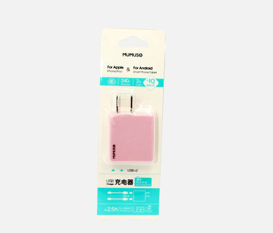 Smart Double Port Wall Charger, Pink