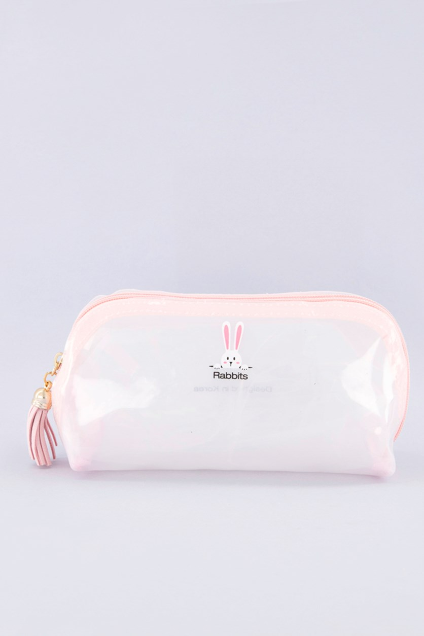 Rabbits Cute Jelly Cosmetic Bag, Pink
