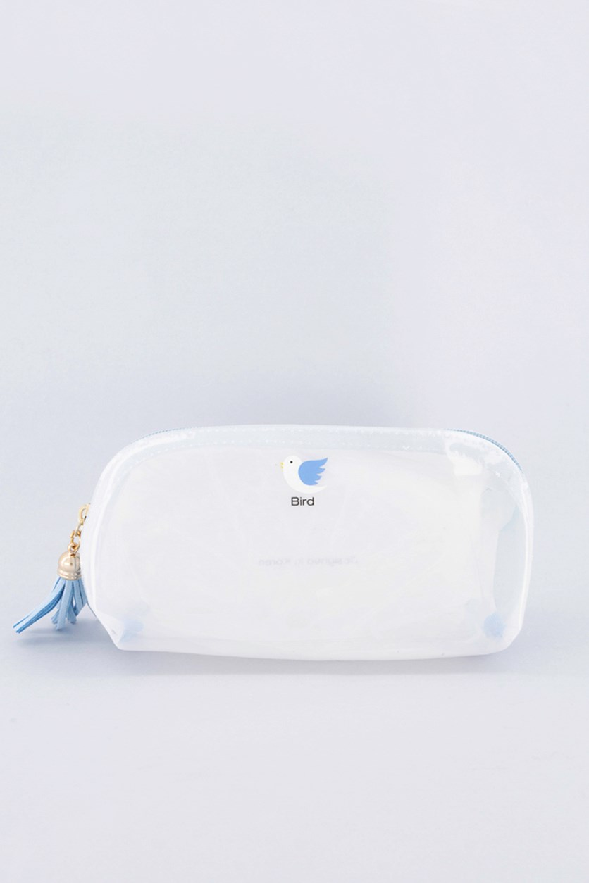 Bird Cute Jelly Cosmetic Bag, Blue