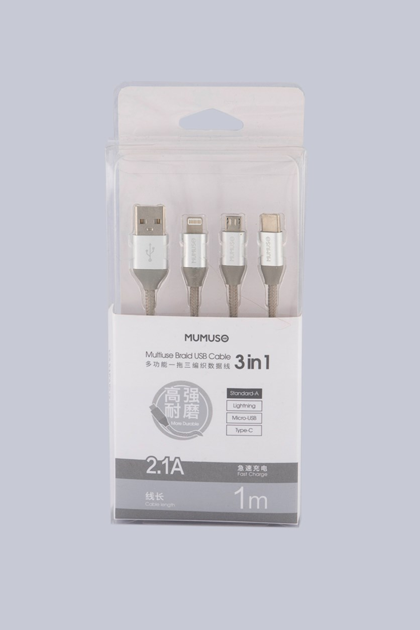 3 in 1 Multiuse Braid USB Cable, Silver