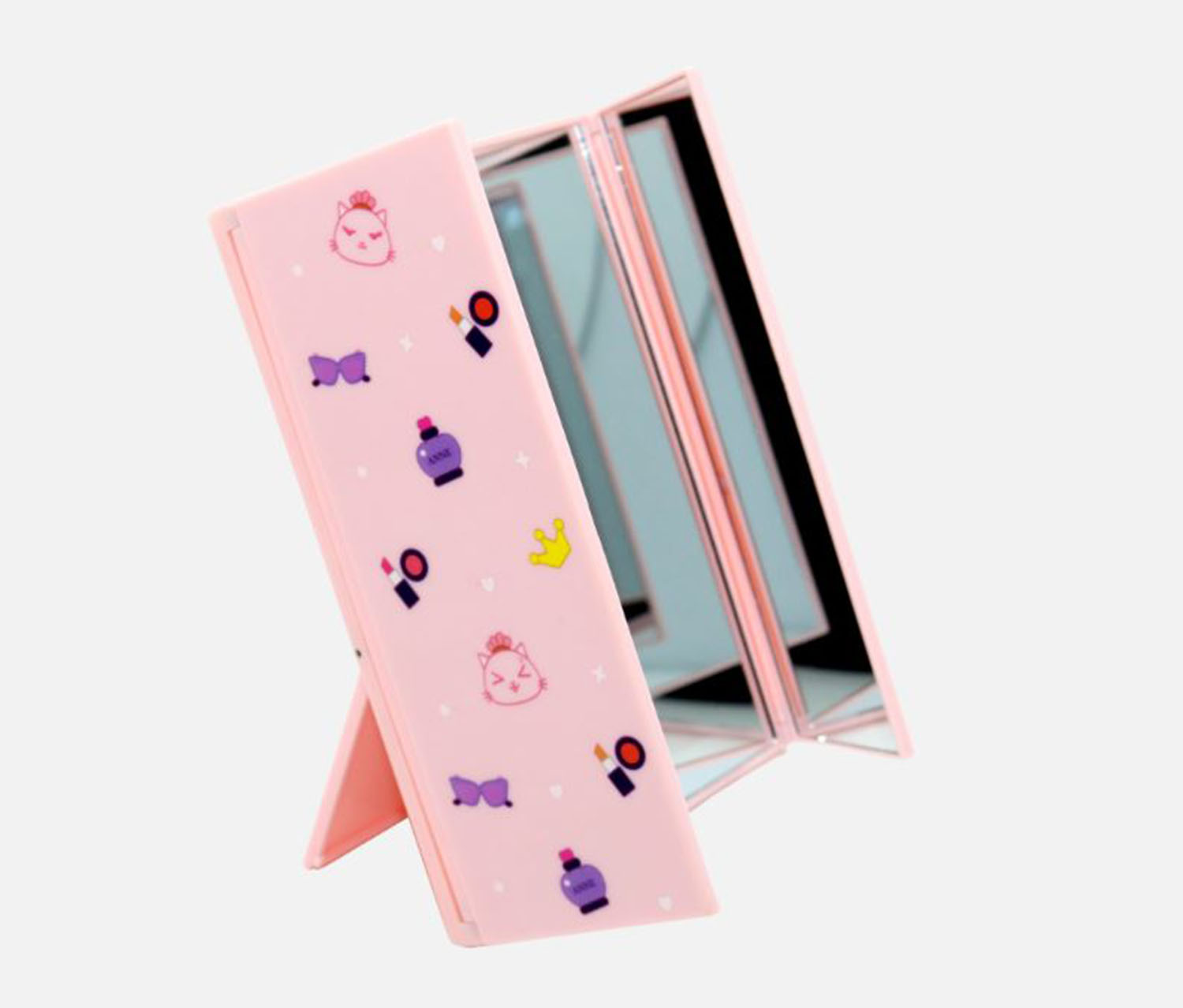 Table Three Folding Mirror, Pink