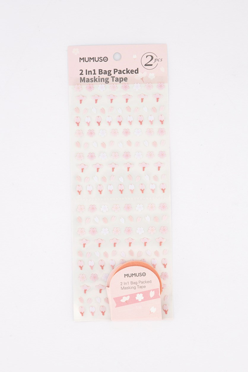2 in 1 Bag Packed Masking Tape, Peach
