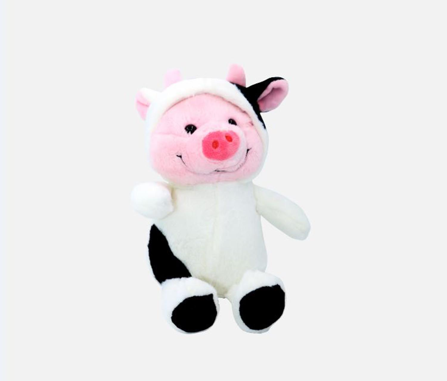 Plush Toy Cow Hoodie, White/Black/White