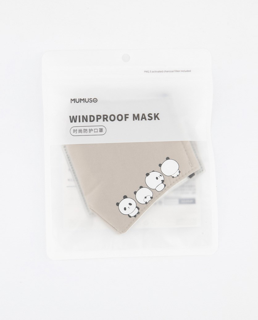 Panda Windproof Mask, Light Grey