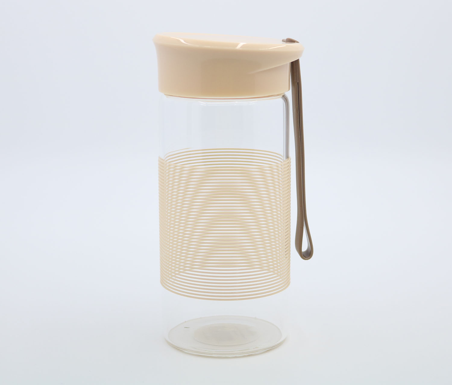 Glass Bottle With Carry Strap, Beige