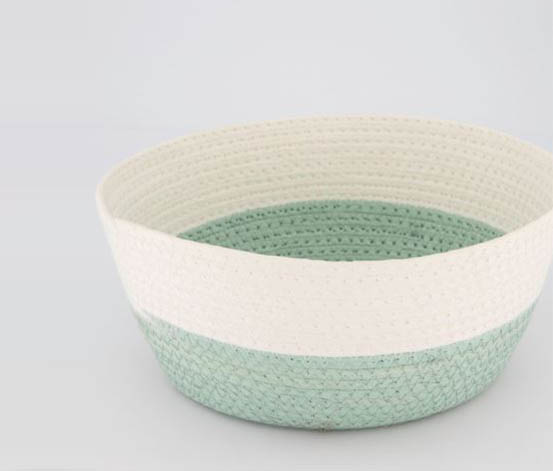 Storage Basket Medium Round, Green/White
