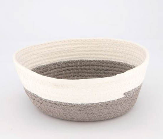 Storage Basket Medium Round, Grey/White