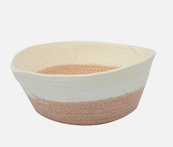 Storage Basket Round, Pink/White