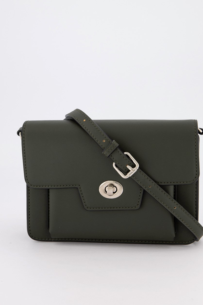 Plain Cross-Body Bag, Dark Green
