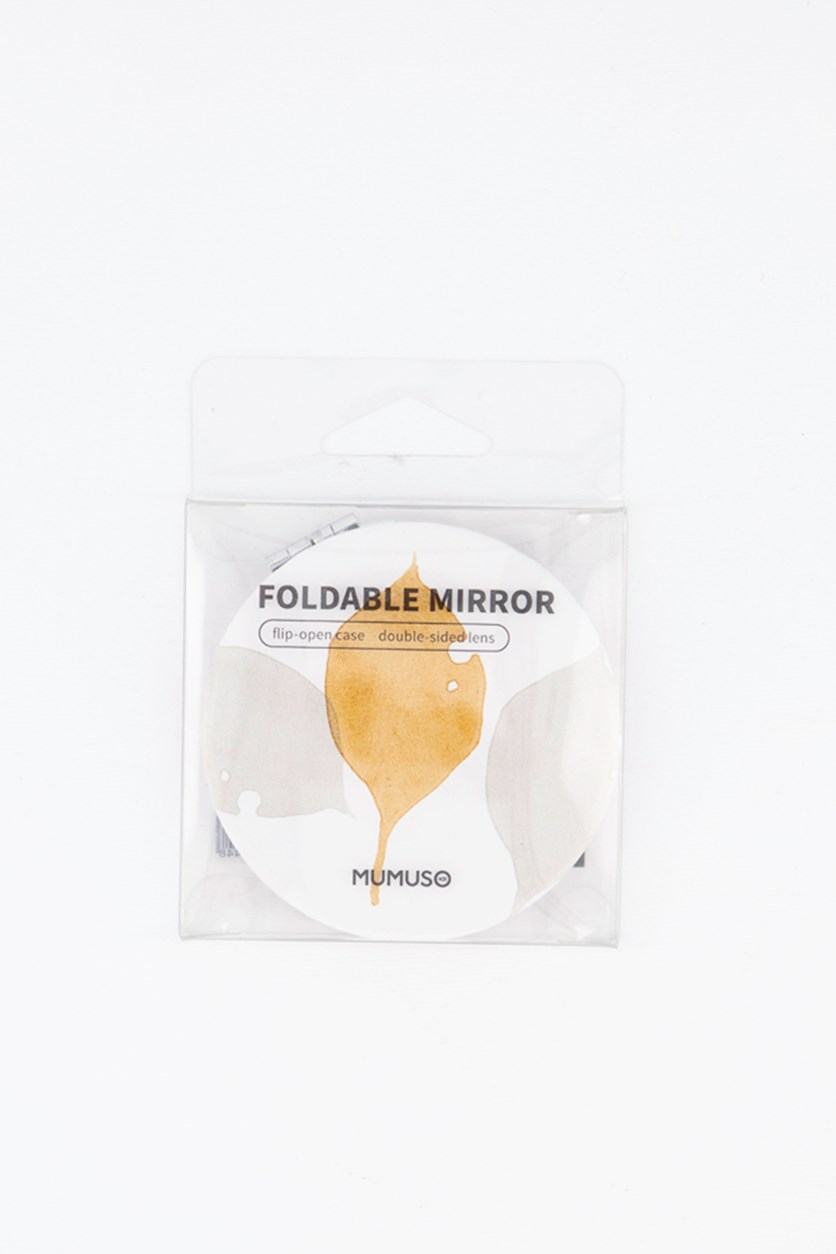 Round Mini Foldable Mirror, White/Gold