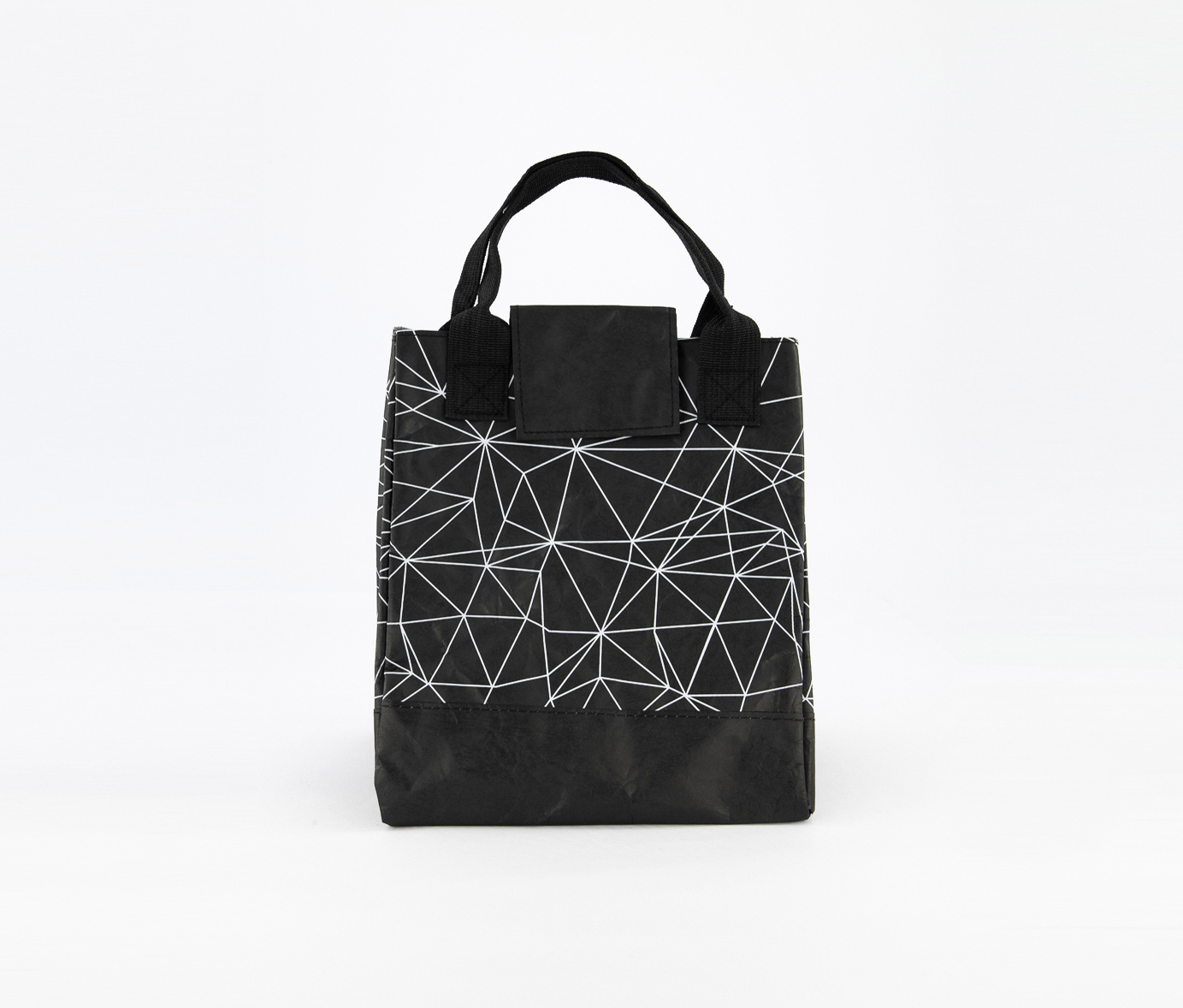 Lunch Bag With Geometric Figure, Black