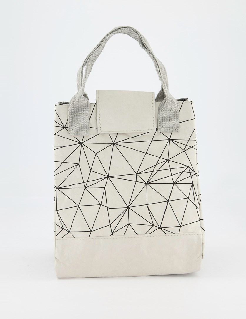 Lunch Bag With Geometric Figure, Silver