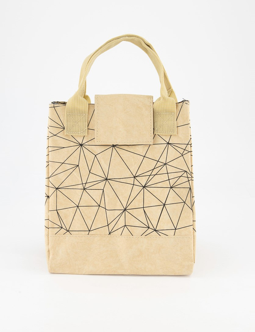 Lunch Bag With Geometric Figure,  Khaki