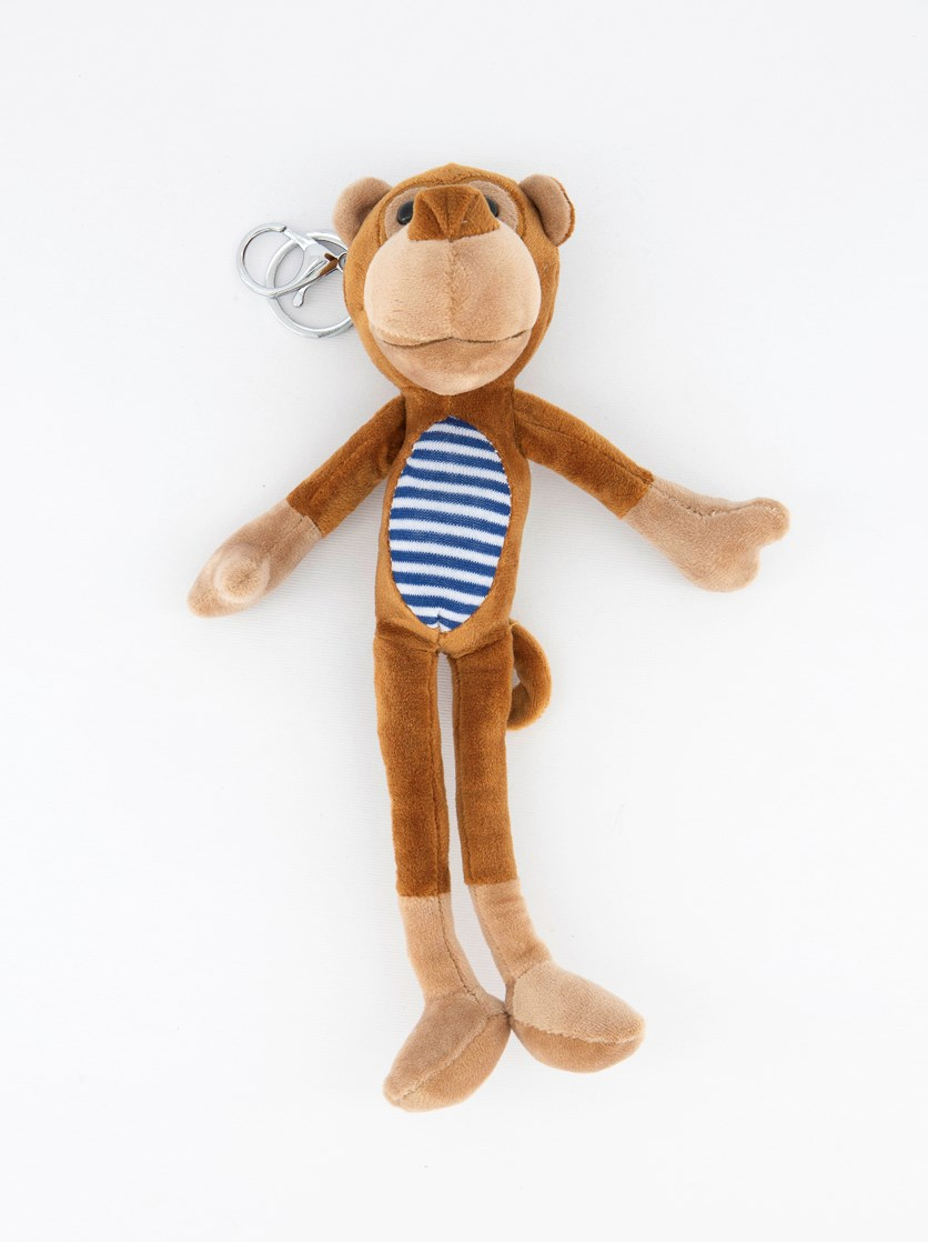 Striped Monkey With Long Legs Bag Pendant, Brown