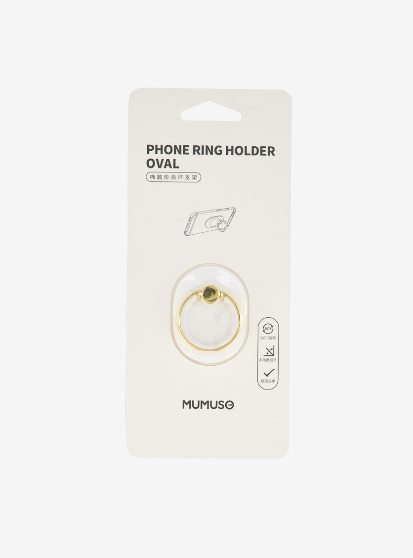 Phone Ring Holder Oval, White/Gold