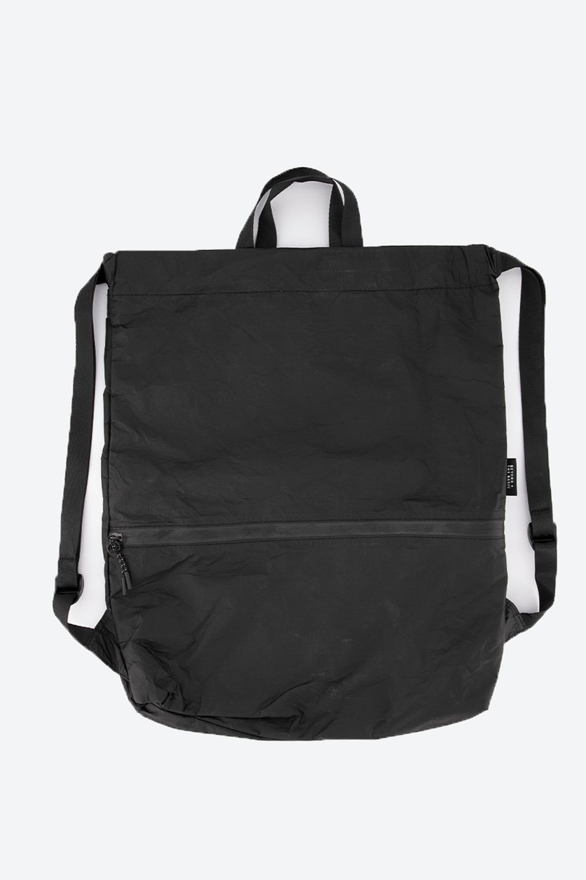 Paper Backpack with Drawstring, Black