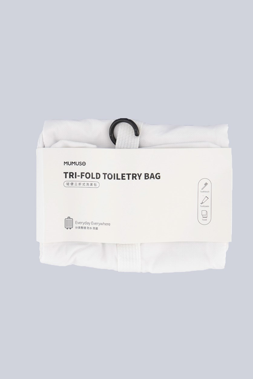 Tri-Fold Toiletry Bag, White