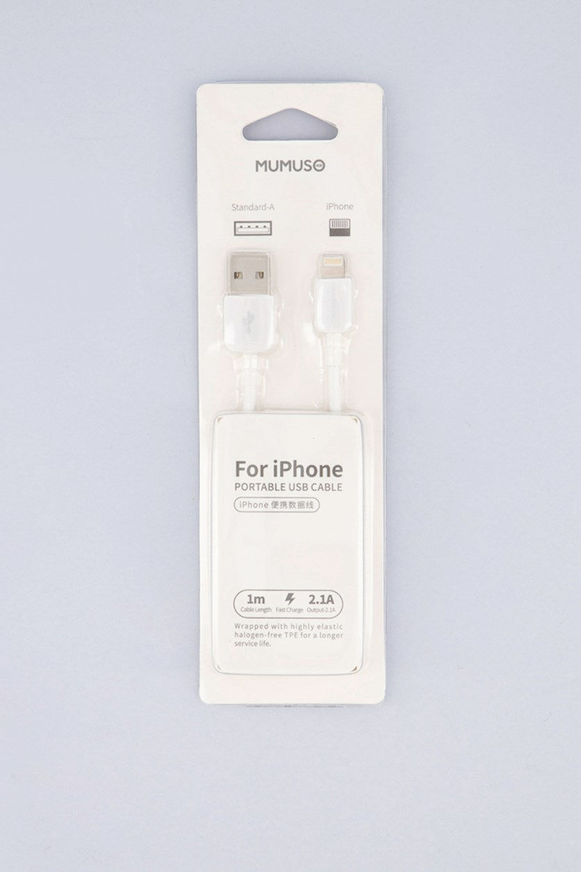 Portable USB Cable For iPhone, White