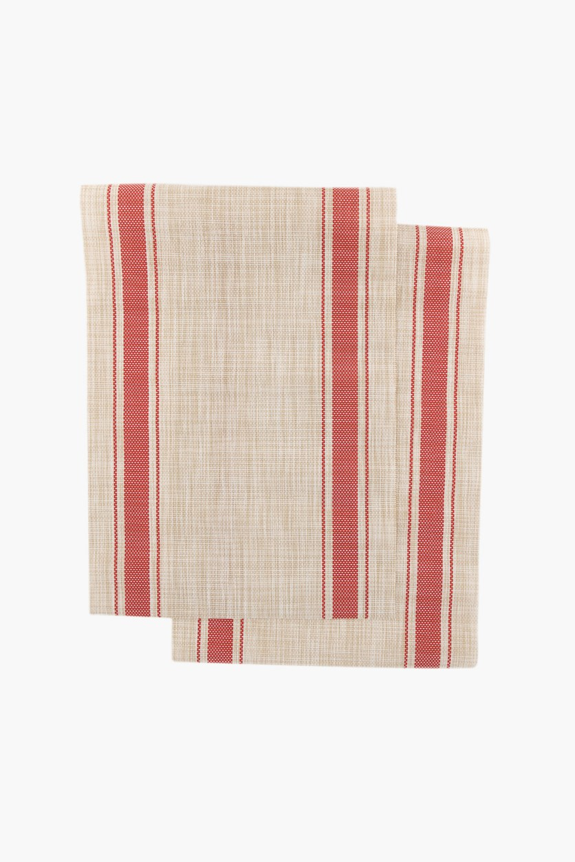 2 Pack Stripe Placemat, Red Combo