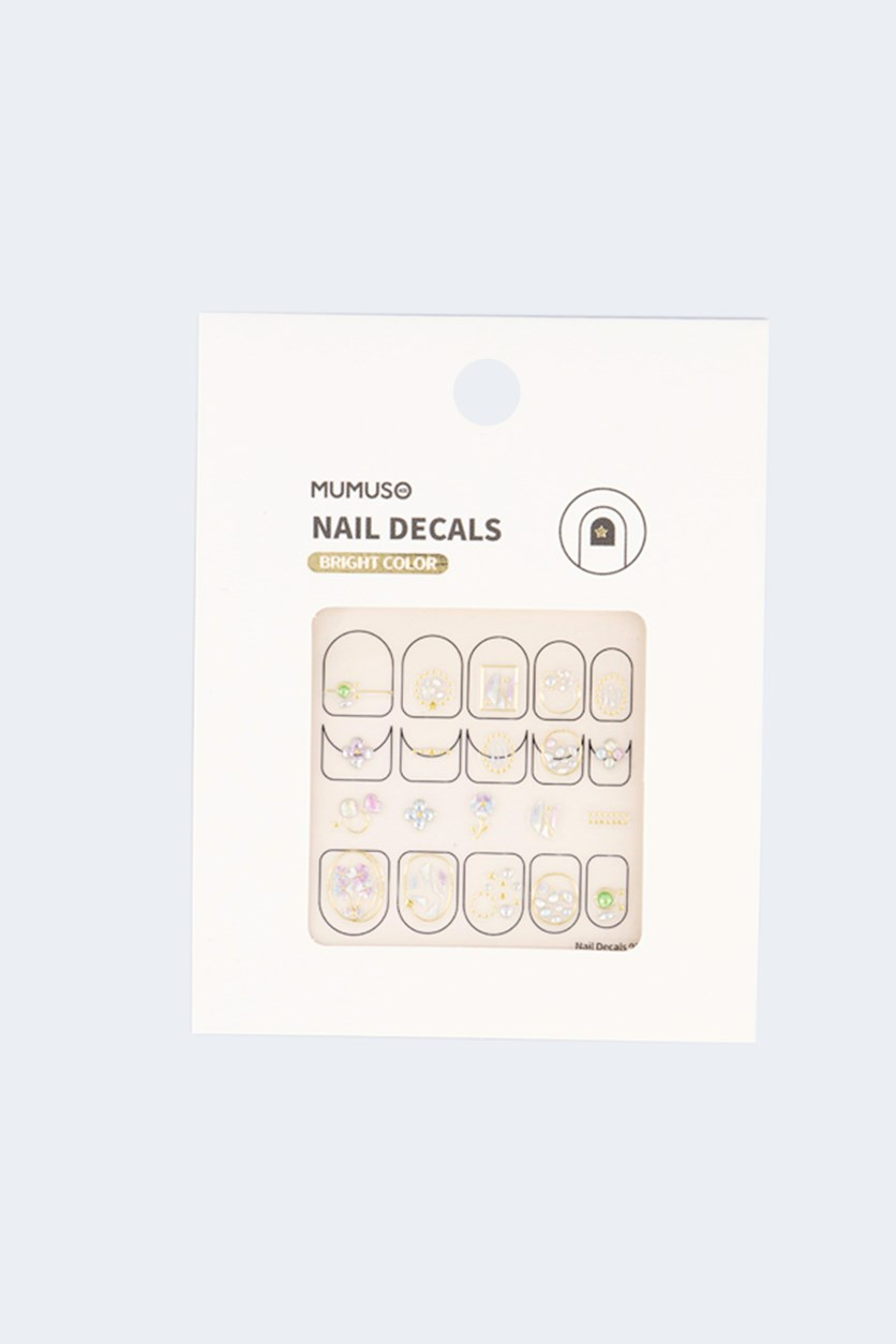 Nail Decals Bright Color, Gold Combo