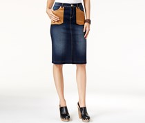 Inc Women's Faux-Suede-Pocket Denim Pencil Skirt, Navy