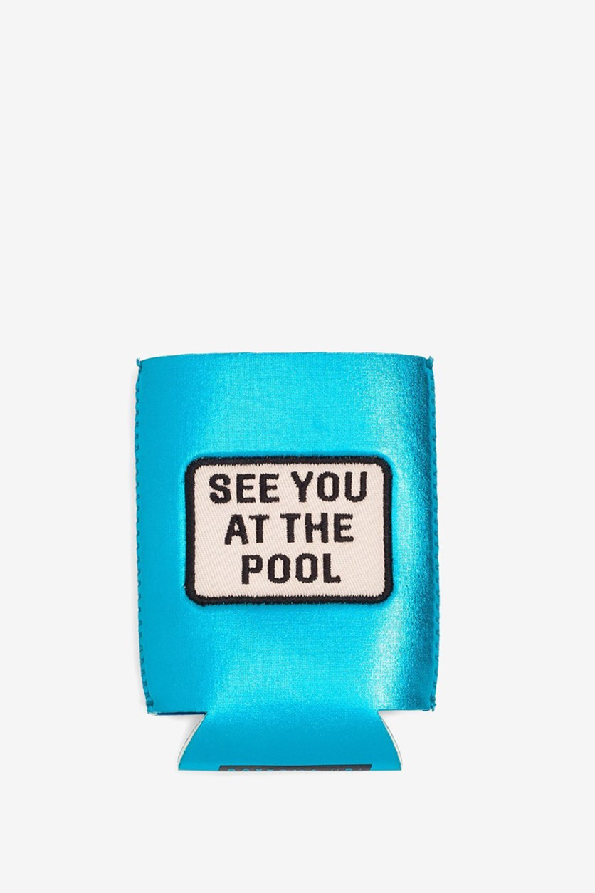 See You at The Pool Too Cill To Spill Drink Sleeve, Metallic Blue