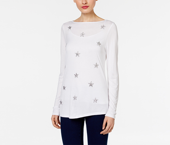 Inc International Concepts Women's Embellished Top, White